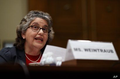 FILE - U.S. Federal Election Commission Commissioner Ellen Weintraub testifies on Capitol Hill in Washington, May 22, 2019.