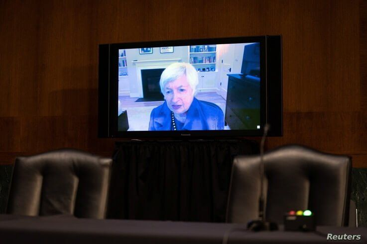 Janet Yellen, President-elect Joe Biden's nominee for Secretary of the Treasury, participates remotely in a Senate Finance…