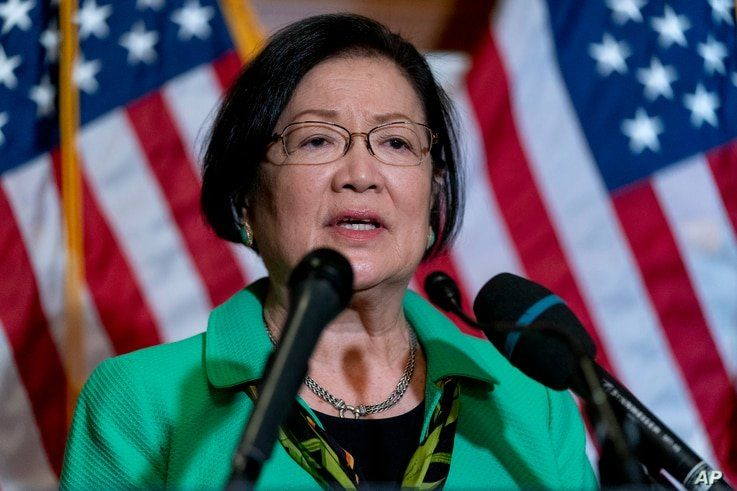 Sen. Mazie Hirono, D-Hawaii, speaks at a news conference after the Senate passes a COVID-19 Hate Crimes Act on Capitol Hill,…