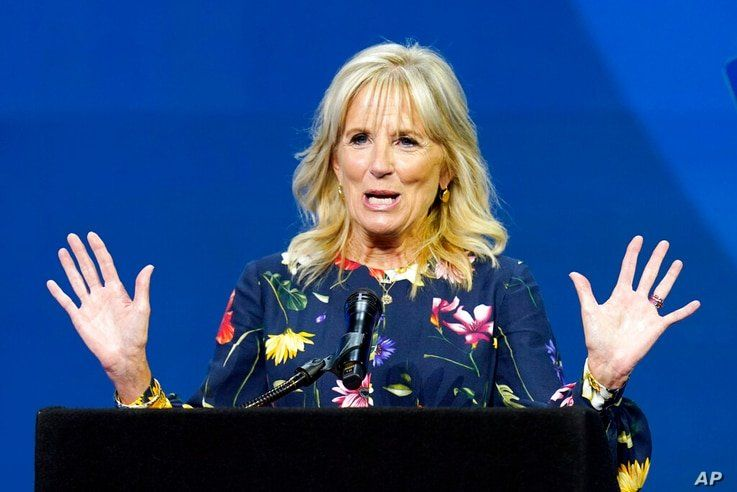 In this July 8, 2021 photo, first lady Jill Biden delivers remarks before the start of the finals of the 2021 Scripps National…