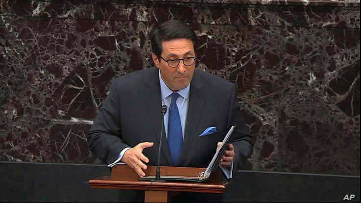 In this image from video, personal attorney to President Donald Trump, Jay Sekulow, speaks during the impeachment trial against…
