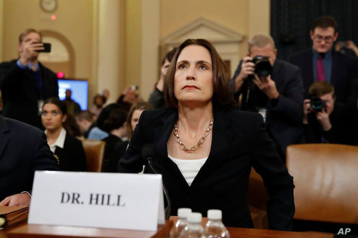 Former White House national security aide Fiona Hill, arrives to testify before the House Intelligence Committee on Capitol…