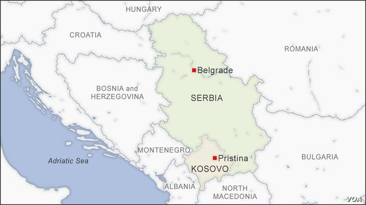 Map of Kosovo and Serbia