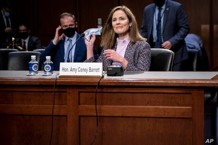Supreme Court nominee Amy Coney Barrett testifies during the third day of her confirmation hearings on Capitol Hill in Washington, Oct. 14, 2020.