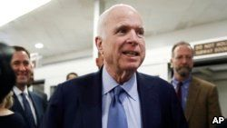 FILE - Sen. John McCain, R-Ariz., speaks to reporters, Oct. 19, 2017, on Capitol Hill in Washington.