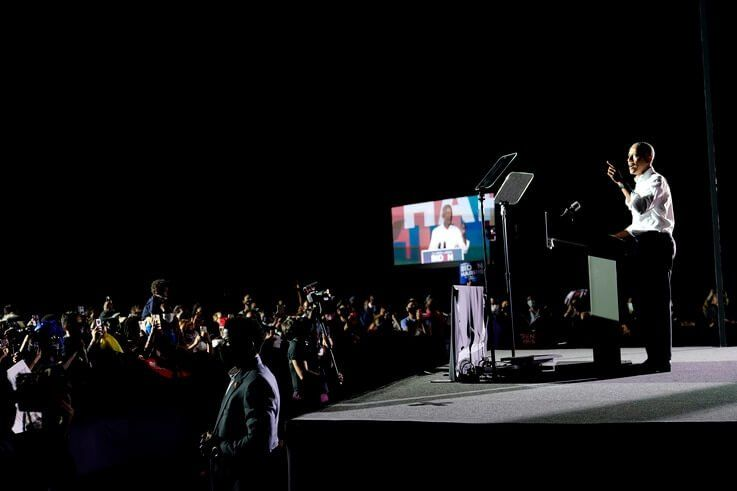 Former President Barack Obama speaks at a rally as he campaigns for Democratic presidential candidate former Vice President Joe…