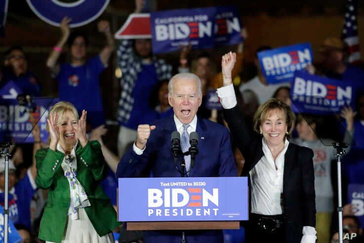 Democratic presidential candidate former Vice President Joe Biden speaks at a primary election night campaign rally Tuesday,…