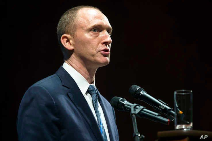FILE - In this July 8, 2016, photo, Carter Page, then adviser to U.S. Republican presidential candidate Donald Trump, speaks at the graduation ceremony for the New Economic School in Moscow, Russia.