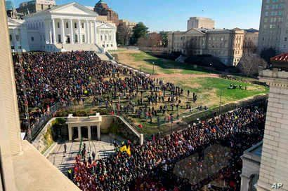Demonstrators are seen during a pro-gun rally, Jan. 20, 2020, in Richmond, Va.