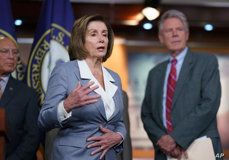 Speaker of the House Nancy Pelosi, D-Calif., responds to a question about her creation of a select committee to investigate the…