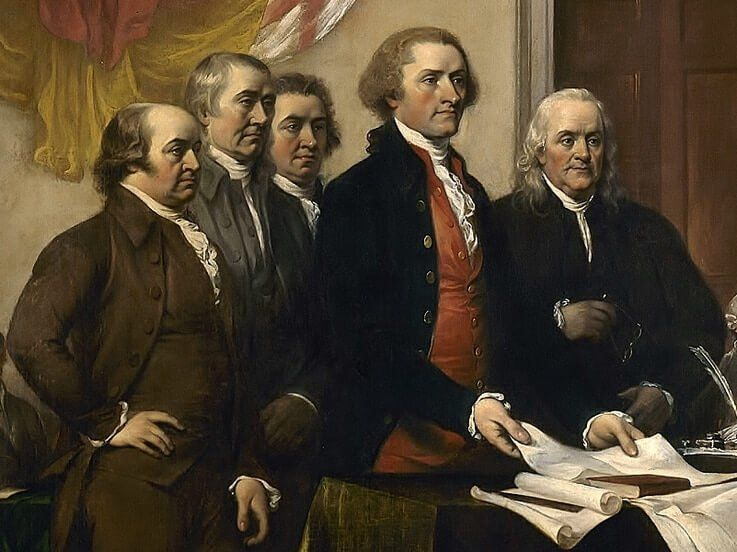 A Committee of Five, composed of John Adams, Thomas Jefferson, Benjamin Franklin, Roger Sherman and Robert Livingston, drafted and presented to the Continental Congress what became known as the U.S. Declaration of Independence of July 4, 1776.