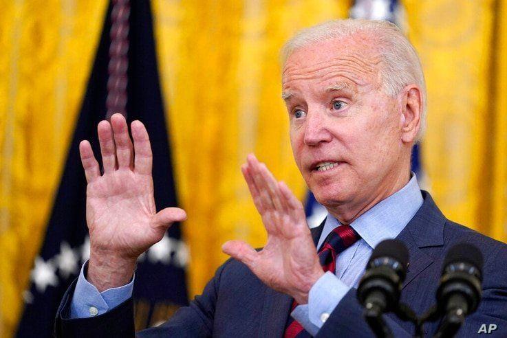 President Joe Biden speaks about the coronavirus pandemic in the East Room of the White House in Washington, Tuesday, Aug. 3,…