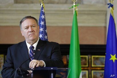 U.S. Secretary of State, Mike Pompeo speaks after meeting Italian Foreign Minister Luigi Di Maio in Rome, Oct. 2, 2019.
