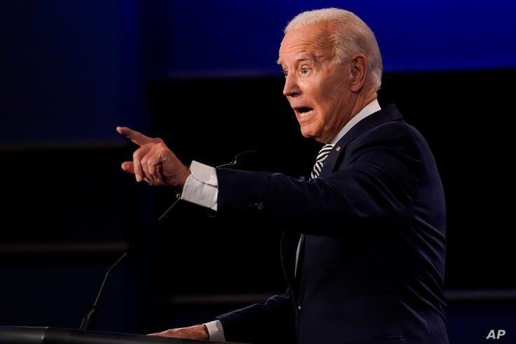 Democratic presidential candidate former Vice President Joe Biden gestures while speaking during the first presidential debate…
