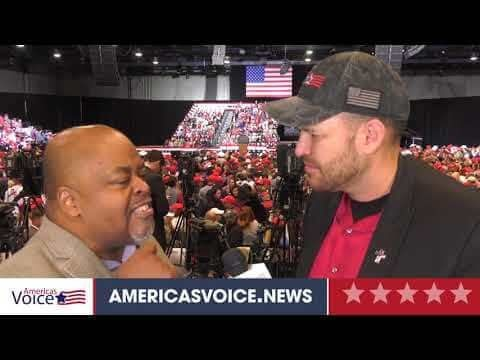 Ben Bergquam speaks with Niger Innis at Trump Las Vegas Rally