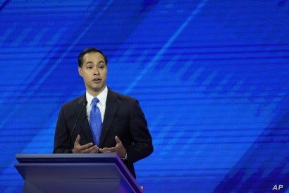 Democratic presidential candidate former Housing Secretary Julian Castro gives his closing statement Thursday, Sept. 12, 2019, during a Democratic presidential primary debate hosted by ABC at Texas Southern University in Houston. (AP Photo/David J…