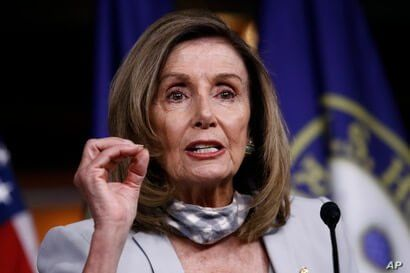 House Speaker Nancy Pelosi of Calif., speaks during a news conference on Capitol Hill in Washington, Aug. 13, 2020.