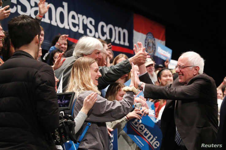 U.S. Democratic presidential candidate Bernie Sanders greets supporters after speaking during a rally in St Louis, Missouri, March 9, 2020.