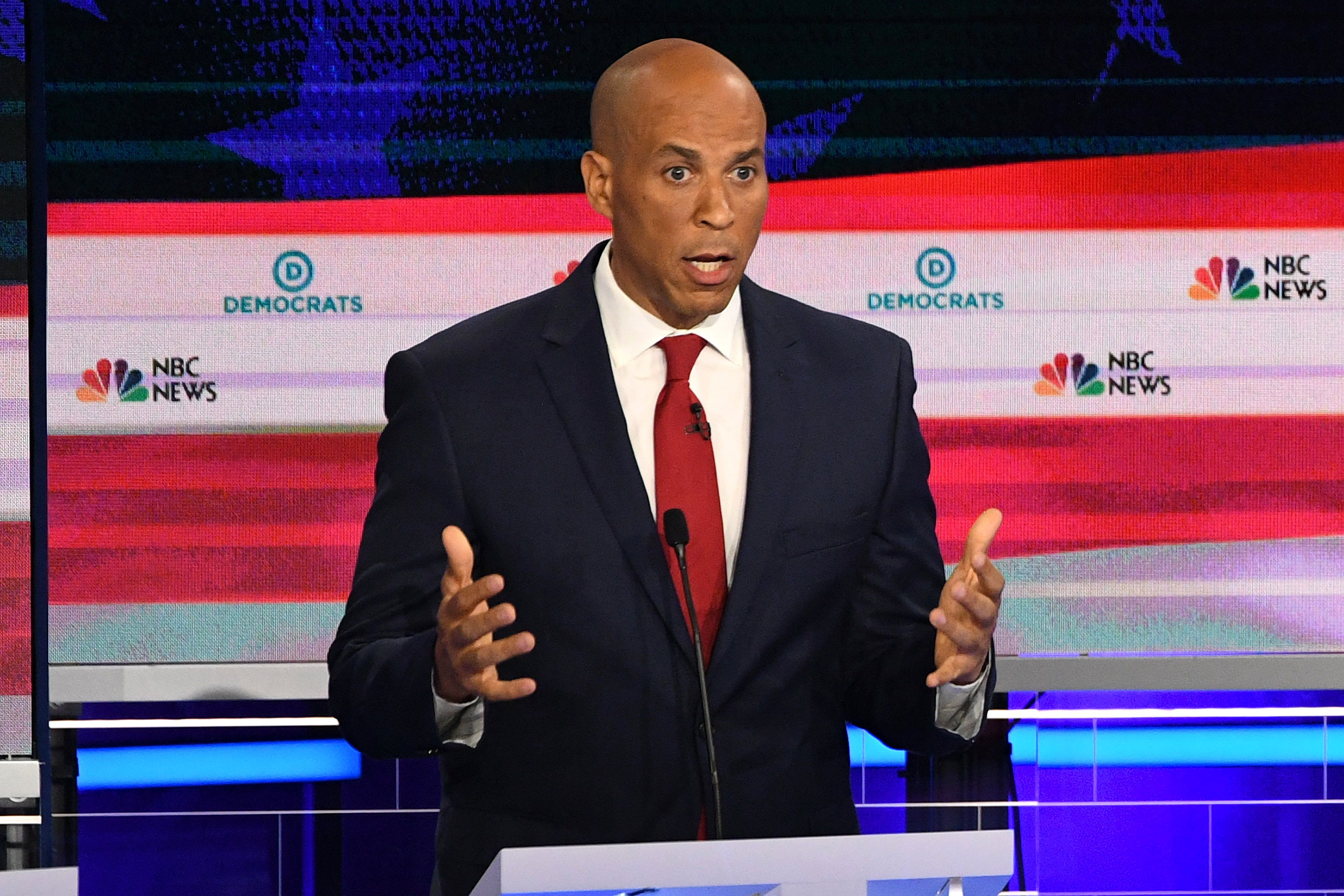 Democratic presidential hopeful U.S. Senator from New Jersey Cory Booker participates in the first Democratic primary debate of the 2020 presidential campaign at the Adrienne Arsht Center for the Performing Arts in Miami, June 26, 2019.