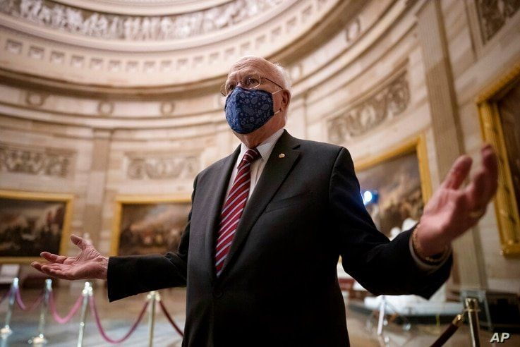 Sen. Patrick Leahy, D-Vt., the new president pro tempore of the Senate, pauses in the Rotunda of the Capitol before the article…