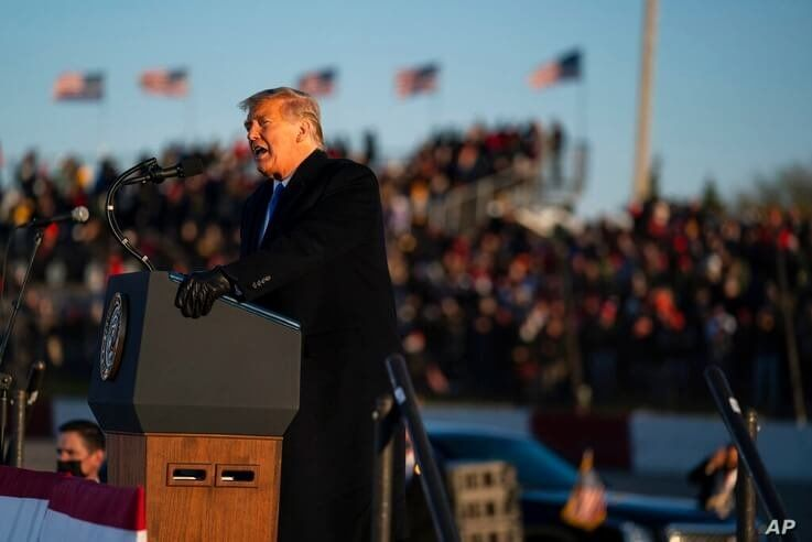 President Donald Trump speaks during a campaign rally at MotorSports Management Company, Tuesday, Oct. 27, 2020, in West Salem,…