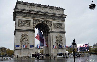 General view of the Arc de Triomphe in Paris