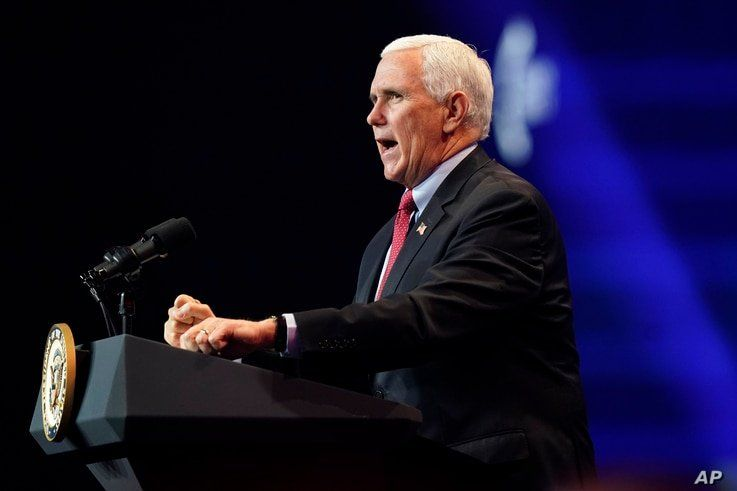 Vice President Mike Pence speaks during the Turning Point USA Student Action Summit, Dec. 22, 2020, in West Palm Beach, Florida.