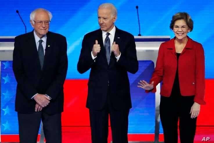 Democratic presidential candidates from left, Sen. Bernie Sanders, I-Vt., former Vice President Joe Biden and Sen. Elizabeth…