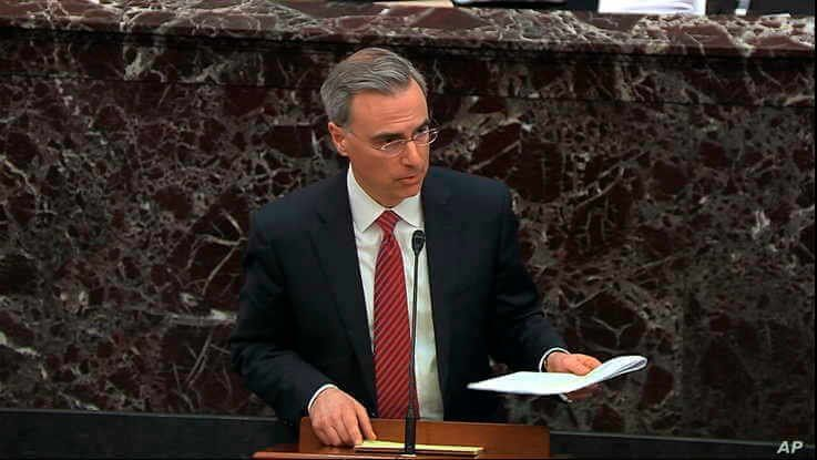 In this image from video, White House counsel Pat Cipollone speaks during the impeachment trial of President Donald Trump in the Senate, at the Capitol in Washington, Jan. 21, 2020.