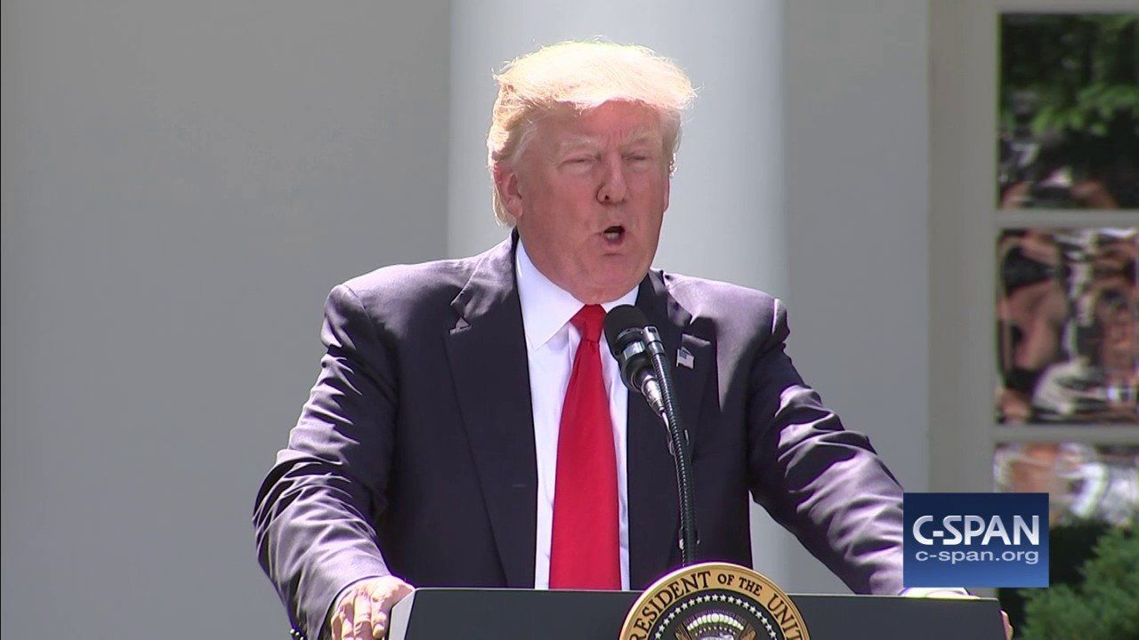 """President Trump: """"The United States will withdraw from the Paris Climate Accord."""" (C-SPAN)"""