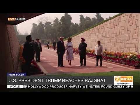 US President Donald Trump reaches Rajghat