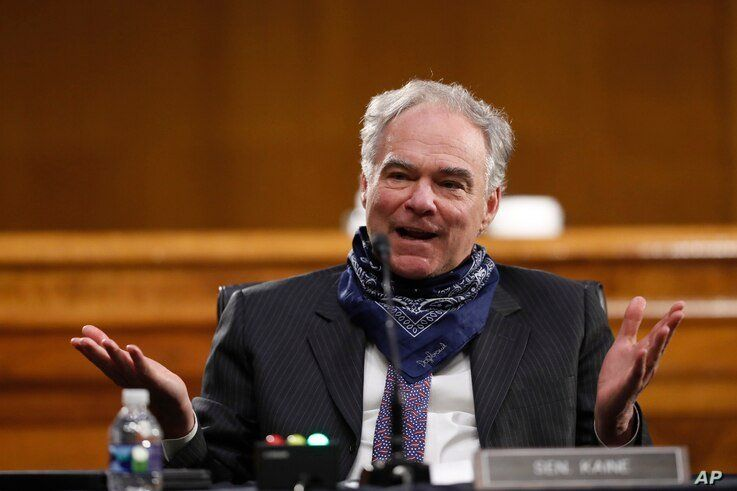 Sen. Tim Kaine, D-Va., speaks during a Senate Health Education Labor and Pensions Committee hearing on new coronavirus tests on…