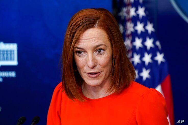 White House press secretary Jen Psaki speaks with reporters in the James Brady Press Briefing Room at the White House, Thursday…