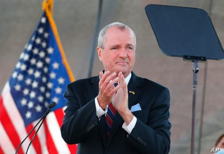 FILE- In this Aug. 25, 2020 file photo, New Jersey Gov. Phil Murphy speaks during his 2021 budget address at SHI Stadium at…