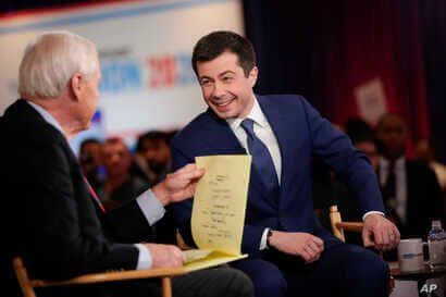 Democratic presidential candidate, former South Bend Mayor Pete Buttigieg is intervened in the spin room after a Democratic…