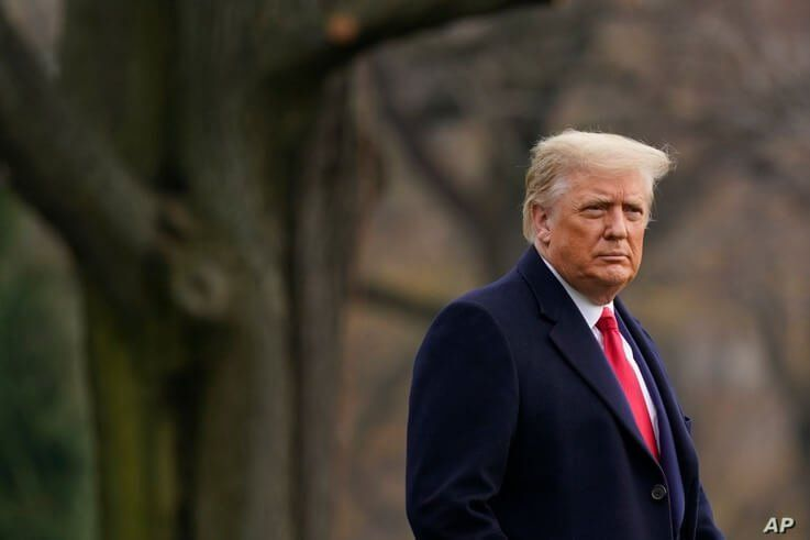 President Donald Trump walks on the South Lawn of the White House in Washington before boarding Marine One, Dec. 12, 2020.