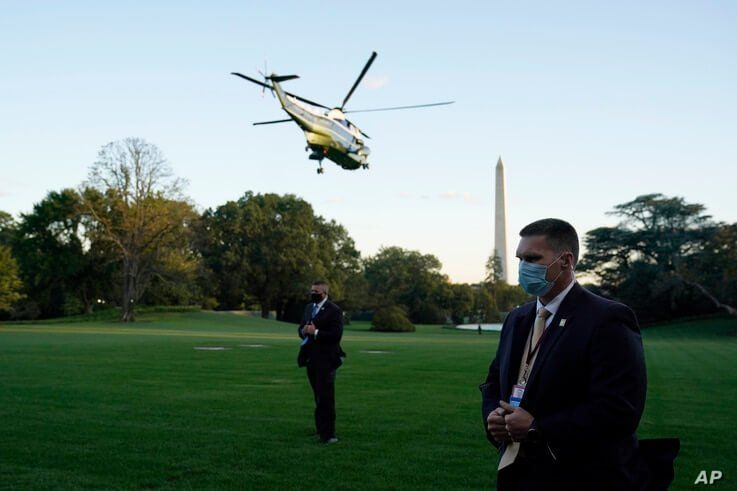 Maine One with President Donald Trump aboard leaves the White House to go to Walter Reed National Military Medical Center after…