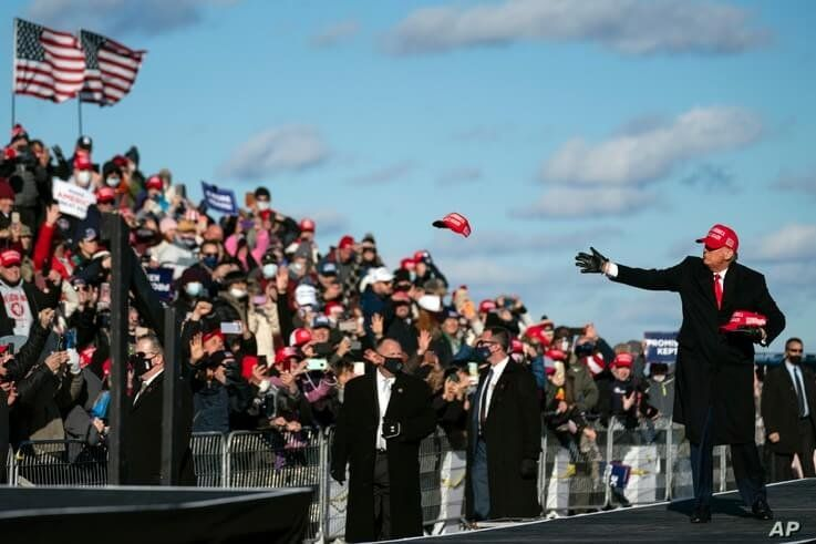 President Donald Trump arrives for a campaign rally at Wilkes-Barre Scranton International Airport, Nov. 2, 2020, in Avoca, Pennsylvania.