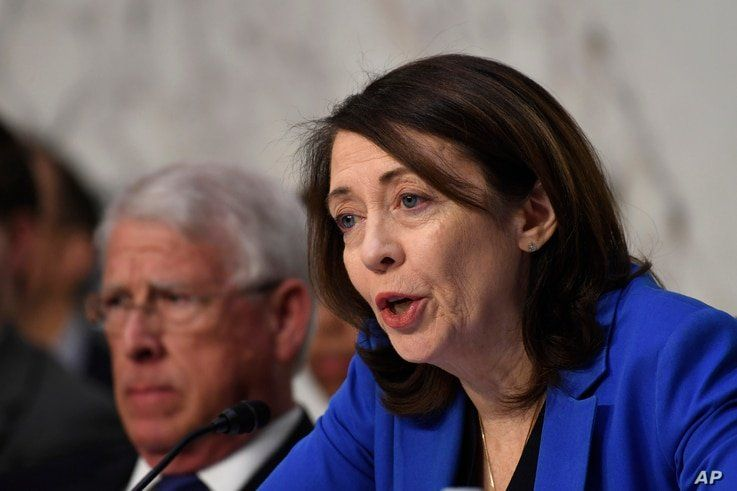 Senate Commerce, Science, and Transportation Committee ranking member Sen. Maria Cantwell, D-Wash., asks a question during a…