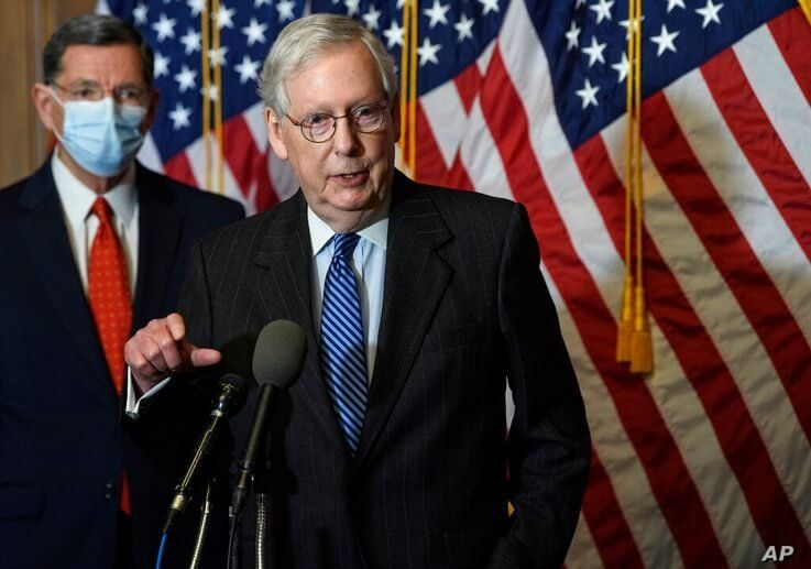 Senate Majority Leader Mitch McConnell of Ky., speaks during a news conference with other Senate Republicans on Capitol Hill in…