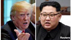 FILE - A combination photo shows U.S. President Donald Trump, left, in Washignton, May 17, 2018, and North Korean leader Kim Jong Un in Panmunjom, South Korea, April 27, 2018.