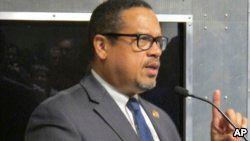 FILE - U.S. Rep. Keith Ellison, the Minnesota Democrat, speaks in Burlington, Vt., at a Democratic Party fundraiser.