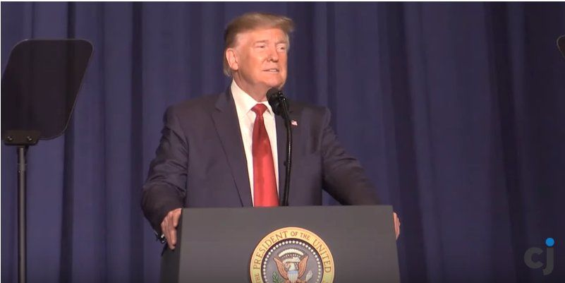 President Donald Trump speaks to AMVETS in Louisville