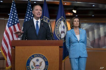 House Intelligence Committee Chairman Adam Schiff, D-Calif., speaks at a news conference with Speaker of the House Nancy Pelosi, D-Calif., at the Capitol in Washington, Oct. 2, 2019.