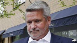 FILE - Bill Shine, who at the time was co-president of Fox News, leaves a New York restaurant, April 24, 2017. President Donald Trump on July 5, 2018, named Shine as director of White House press and communications.