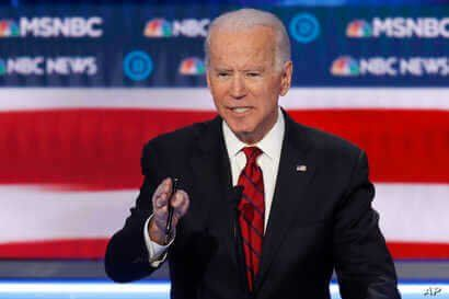 Democratic presidential candidate, former Vice President Joe Biden speaks during a Democratic presidential primary debate…