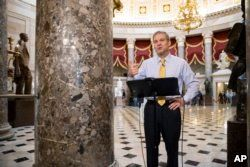 Rep. Jim Jordan, R-Ohio, a key member of the House Freedom Caucus, does a TV news interview at the Capitol in Washington, May 18, 2018.