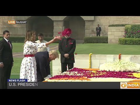 US President Trump, wife Melania lay wreath at Rajghat as tribute to Mahatma Gandhi