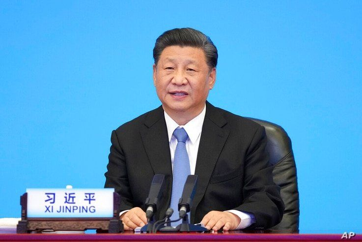 In this photo released by Xinhua News Agency, Chinese President Xi Jinping delivers a speech at the CPC and World Political…