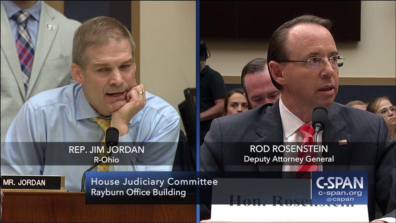 Full exchange between Rep. Jim Jordan and Deputy Attorney General Rod Rosenstein (C-SPAN)